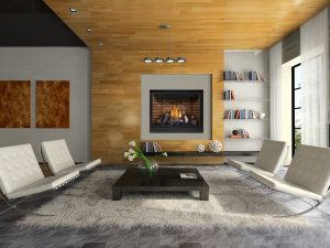 High definition 46 inch fireplace room set with logs