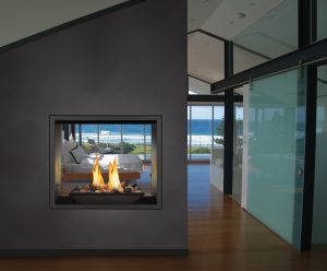 High Definition fireplace 81 inches see though in the bedroom