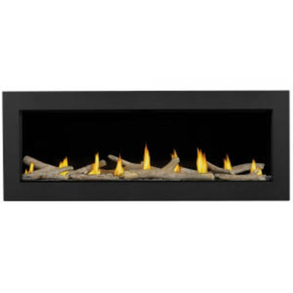 "Acies 50"" Fireplace with a black back and black frame. Has a log set across the bottom and flames"