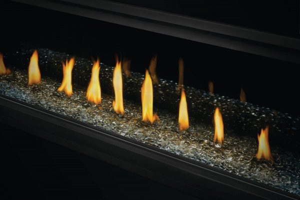 Acies 50 fireplace with glass bed and flames