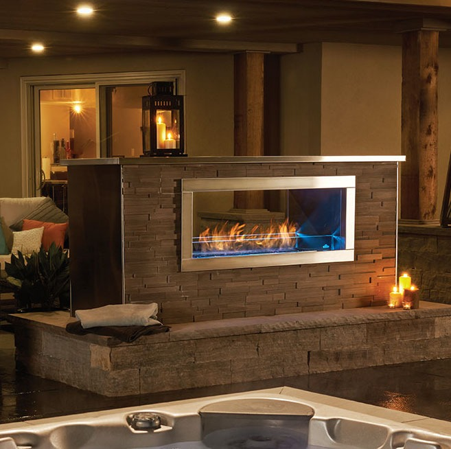 Napoleon galaxy see thru outdoor gas fireplace fireplace for See thru fireplace