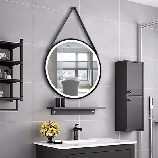 Home-Decor-Wall-Mounted-Round-Metal-Frame-LED-Bathroom-Mirror